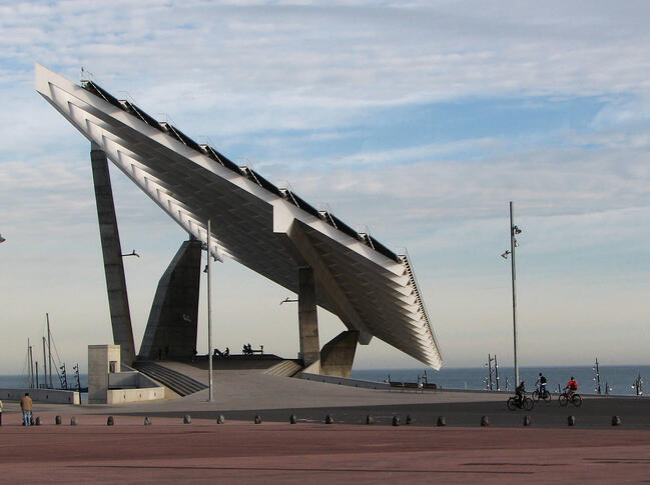 Huge solar array in Parc del Forum public building in Barcelona