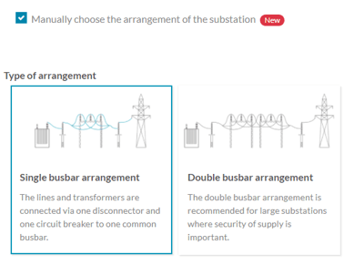 Option to manually choose the arrangements of the substation